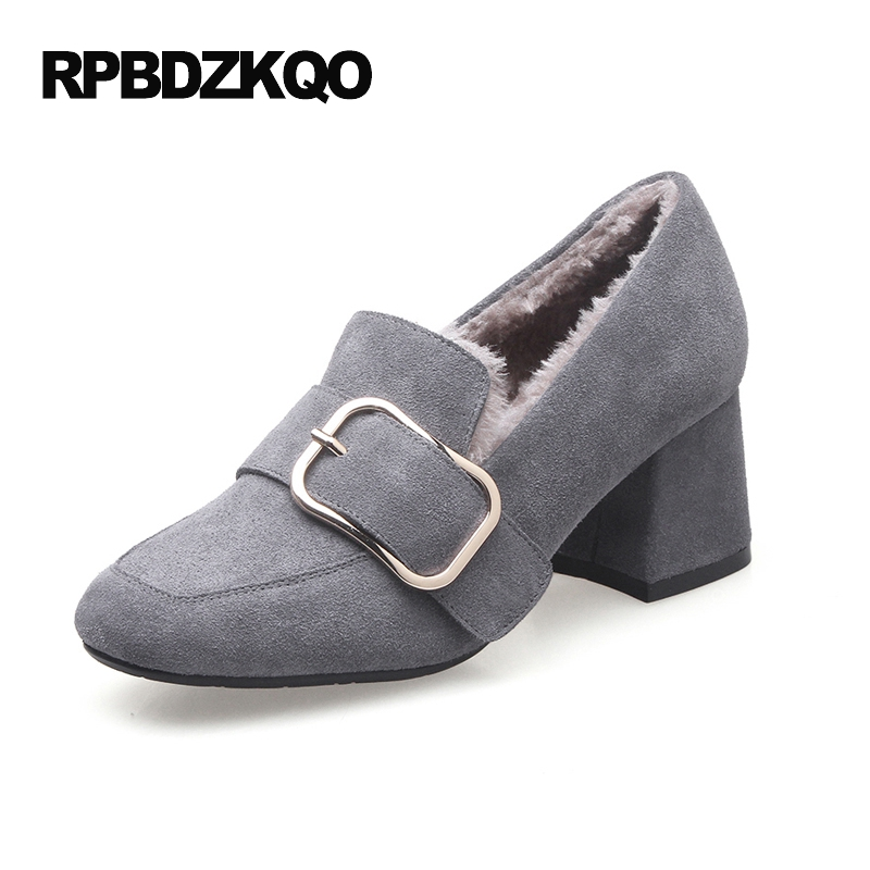 Medium Block Heels Shoes For Women Pumps Casual 2017 High Suede Round Toe Size 4 34 Fur Thick Gray Belts Spring New Fashion big size high heels round toe women platform shoes cool casual white lace wedge black creepers medium pumps mesh chinese fashion