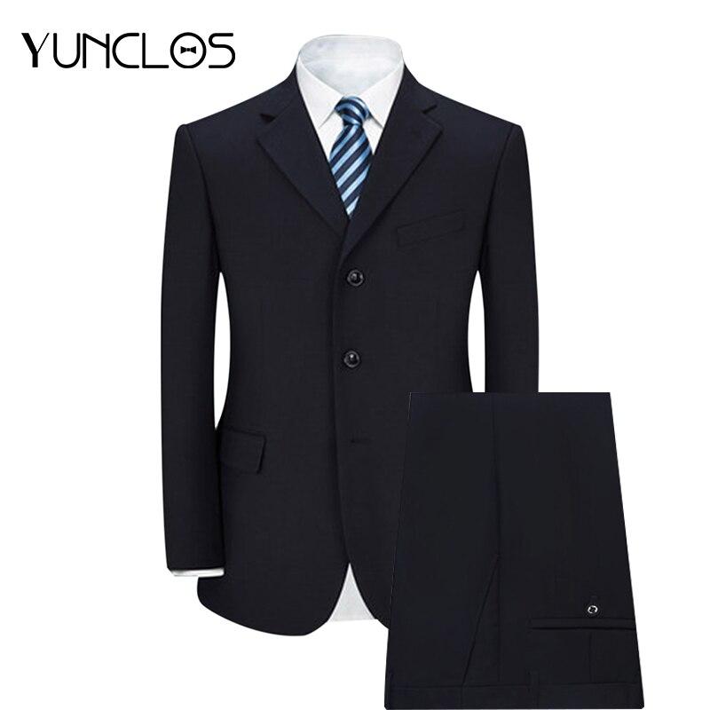 YUNCLOS 2018 Business Men Suit 2 Pieces Jacket and Pant Classic Solid Suits Men Wedding Suits Slim Fit Fashion Design Suits