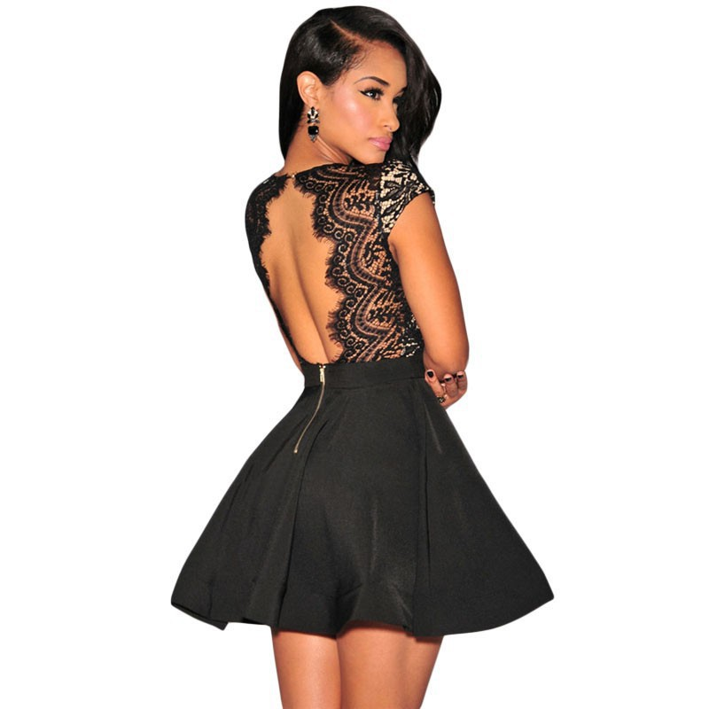 V-back lace skater dress