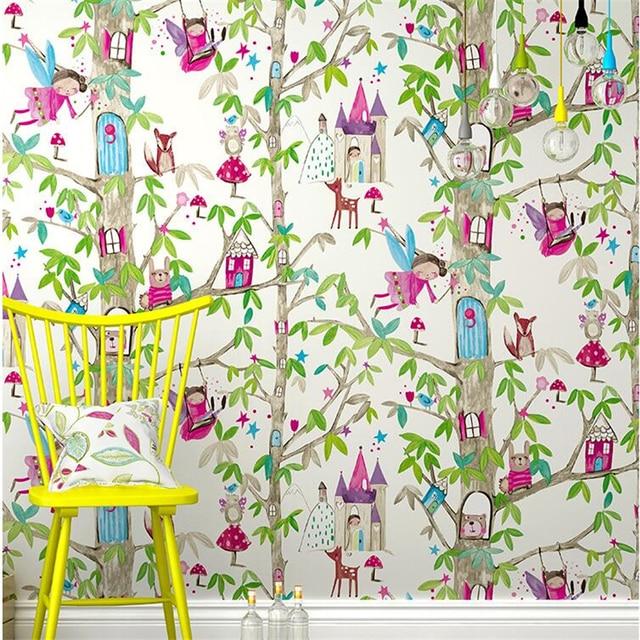 Beibehang Green Children S Room Bedroom Pink Plain Wallpaper Cartoon Flowers Fete House Royal Floor Wall
