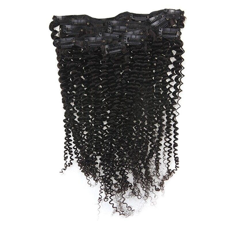 Полный блеск афро кудрявые человеческие волосы для наращивания на заколках волосы Remy для афро женщин натуральный черный цвет 7 шт. 100 г - Цвет: Kinky Curly