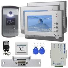 DIYSECUR Strike Lock Video Door Phone Doorbell Video Intercom Remote Control RFID Metal Outdoor Camera 1 Camera 3 Monitors