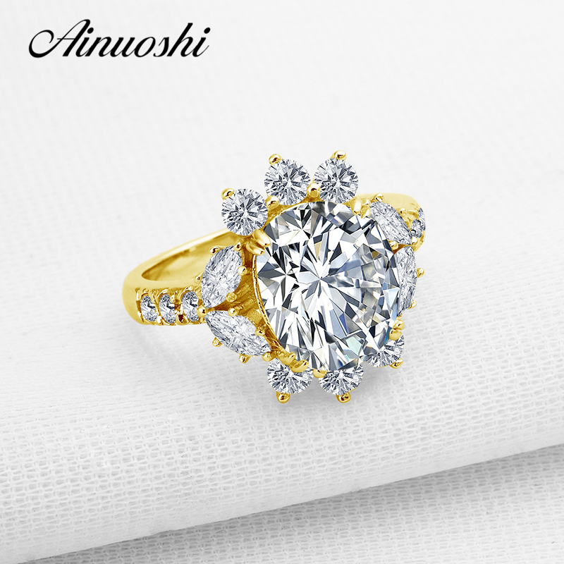 AINUOSHI New Flower Ring 10k Solid Yellow Gold Women Engagement Ring Brilliant Oval Cut Anel de ouro Sona Diamond Wedding Ring ainuoshi fashion oval cut yellow gold ring 10k solid gold wedding ring lab grown diamond women engagement rings top quality band