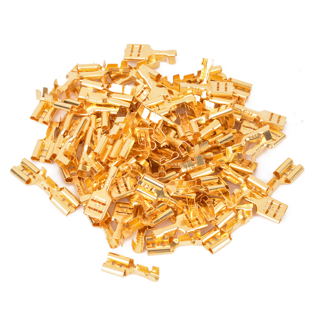 100 Pieces Gold Brass Female Spade Terminals 6.3mm Car Speaker Electrical Wire Cable Connector