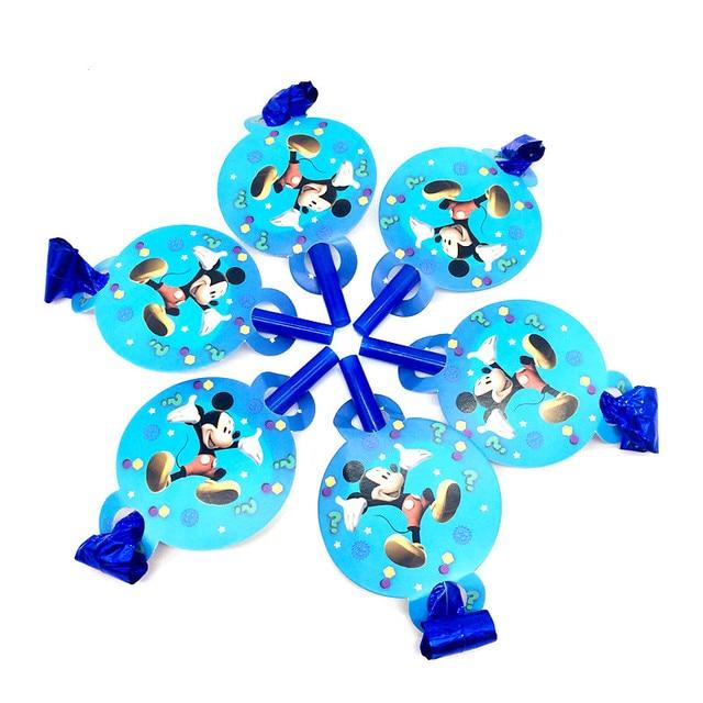 Disney Mickey Mouse 6 pçs/lote Fabricante do Ruído Brinquedo Da Festa De Aniversário Menino Família Festival Partido Blowout Sopro do Dragão Dos Desenhos Animados Abastecimento