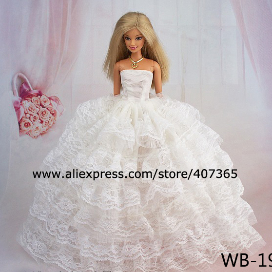 White wedding dress bag shoes for barbie doll in dolls for Barbie wedding dresses for sale