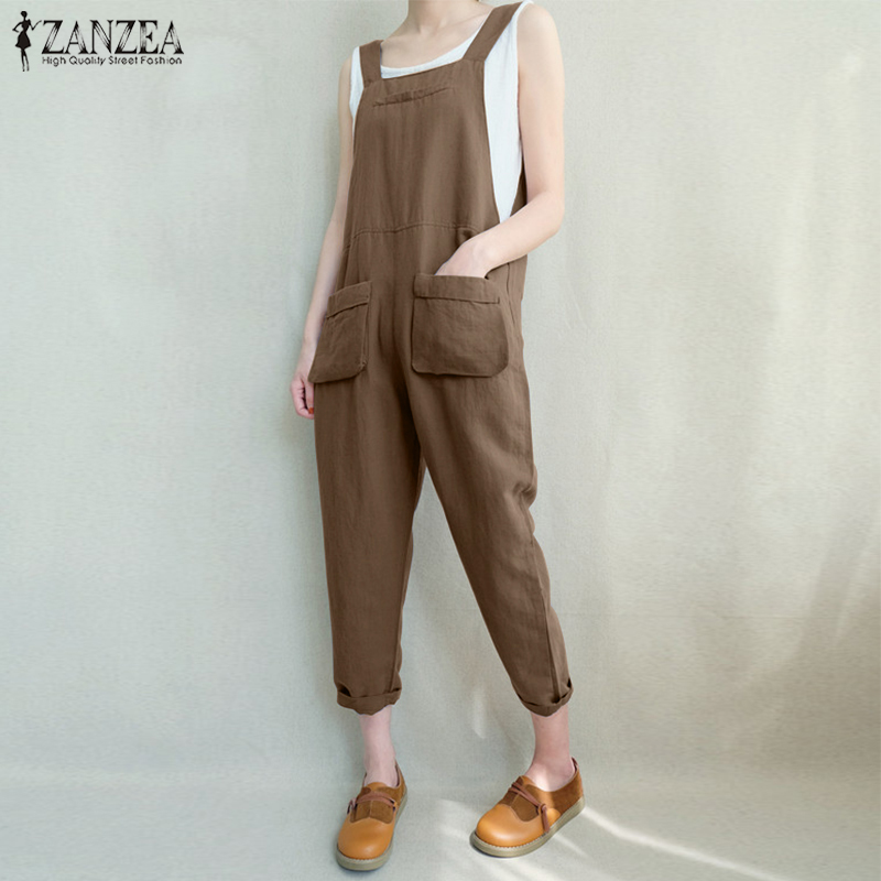 S-5XL 2018 ZANZEA Women Casual Sleeveless Strappy Work Dungarees Pockets Long Jumpsuit Retro Solid Loose Turnip Rompers Overalls