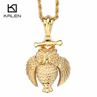 Kalen Unique Indian Gold Color Owl Pendant Necklace Men S Stainless Steel Animal Eagle Necklace Jewelry