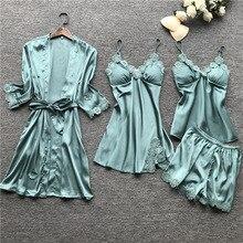 Lato 2019 kobiet zestawy piżam 4 sztuk piżamy kobiety Sexy Lace Satin bielizna nocna elegancki jedwab Pijama z klatki piersiowej klocki bielizna nocna