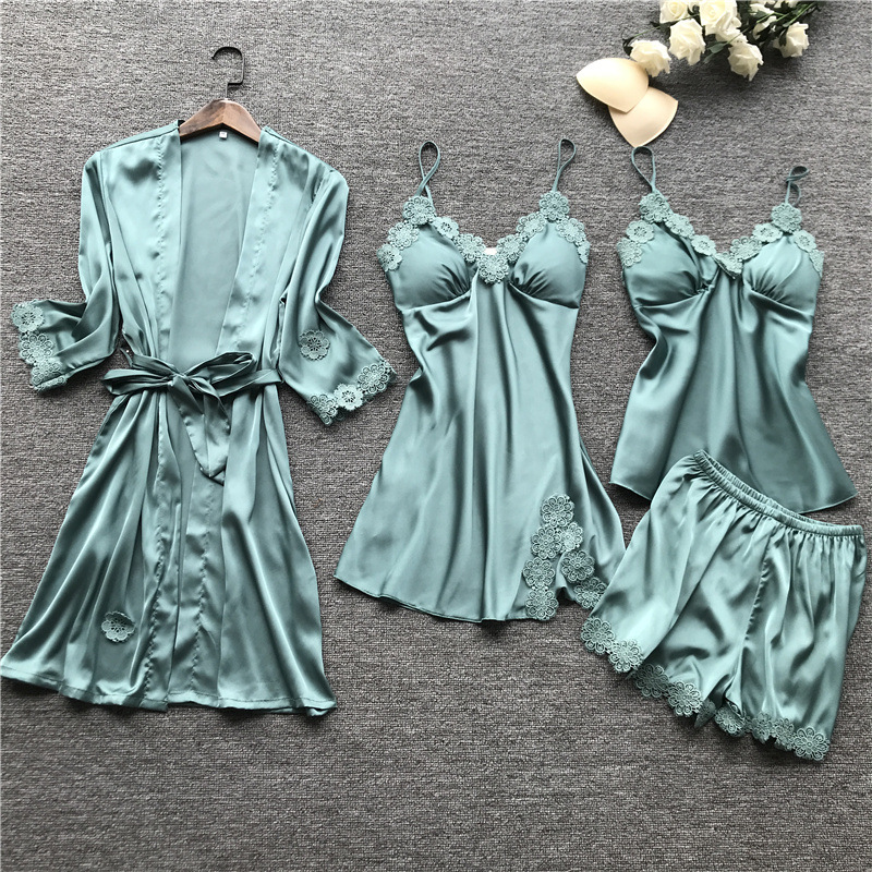 Summer 2019 Women Pajama Sets 4 Pcs Pyjamas Women Sexy Lace Satin Sleepwear Elegant Silk Pijama With Chest Pads Nightwear