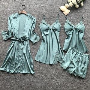 Image 1 - Yaz 2019 kadın Pijama setleri 4 adet Pijama kadın seksi dantel saten Pijama zarif ipek Pijama göğüs yastıkları ile kıyafeti