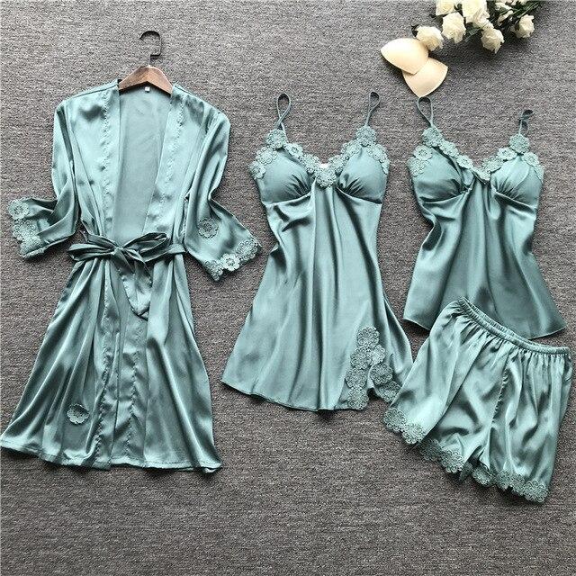 Yaz 2019 kadın Pijama setleri 4 adet Pijama kadın seksi dantel saten Pijama zarif ipek Pijama göğüs yastıkları ile kıyafeti