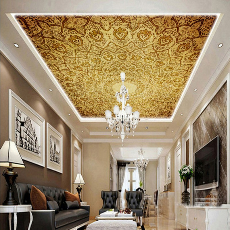 Wallpaper 3d classic luxury european design ceiling mural for Ceiling mural wallpaper