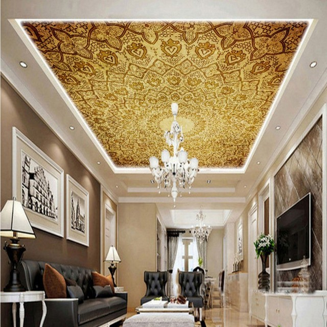 Wallpaper 3d Classic Luxury European Design Ceiling Mural