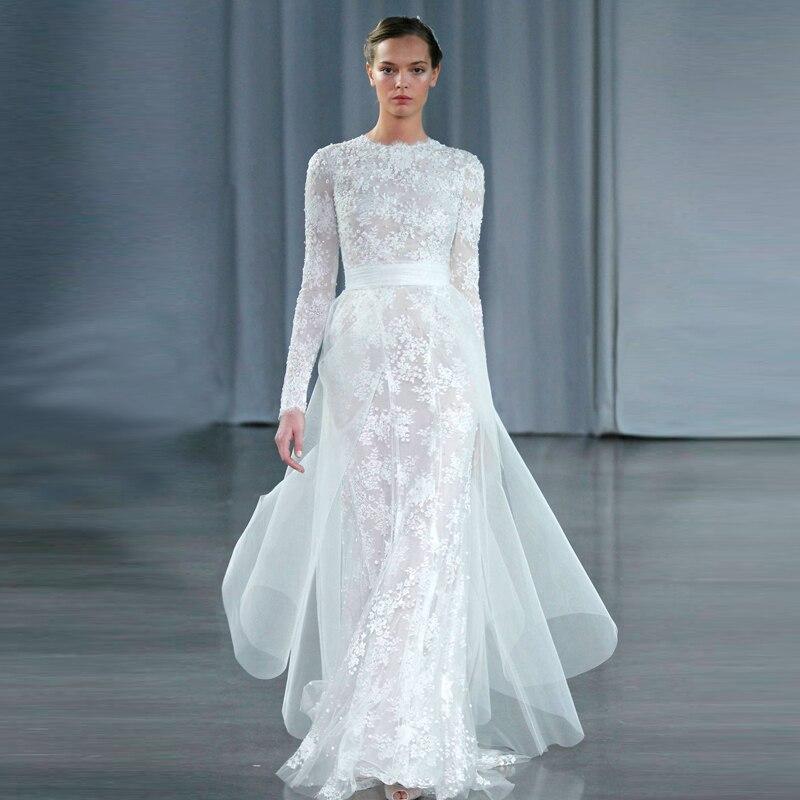 on sale custom made 2015 designer lace modest wedding dress with long sleeve detachable skirt bride