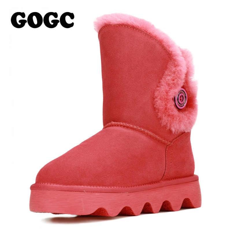 GOGC 2018 bayan botları kar ayakkabıları kadın kışlık botlar ayakkabı yün kürk rahat hakiki deri ayak bileği kadın botları 9721
