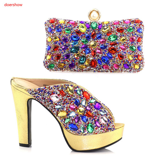 doershow 2018 Shoe and Bag Set Decorated with Rhinestone African Women Matching Italian Shoe and Bag Set for Wedding SAA1-15 doershow italian shoe with matching bag silver african shoe and bag set new design matching shoes and bags for party bch1 6