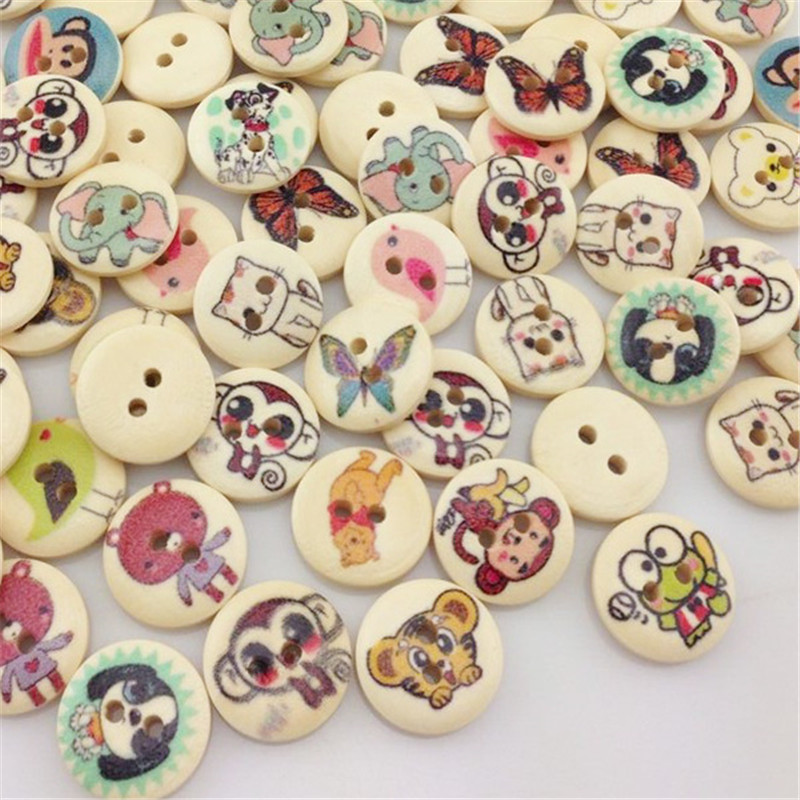 50pcs Black and White Color Cute Mustache Wood Buttons Sewing Mix Lots WB75