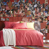 2017 Red Pure Color Simple Style 60S Long Staple Cotton Satin Bedding Set Duvet Cover Bed
