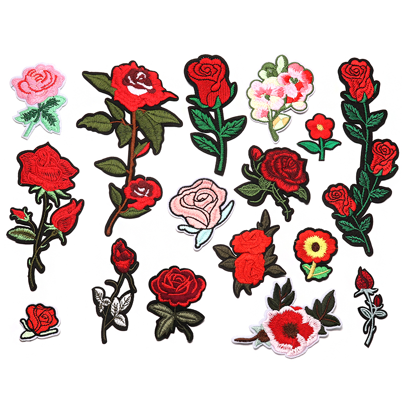 Design flower embroidery patches for clothing iron