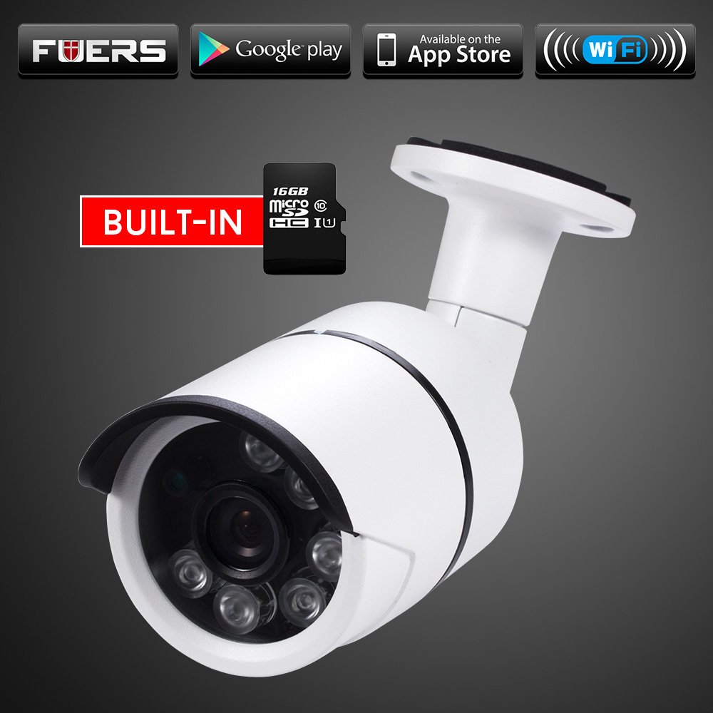 Fuers Outdoor Waterproof IP Camera WiFi Wireless Surveillance Camera Built-in 16G Memory Card CCTV Camera With Night Vision windows 10 wifi mini pc host 32g memory bay trail cr 2 4g wifi with built in mic camera main eu plug black wholesale