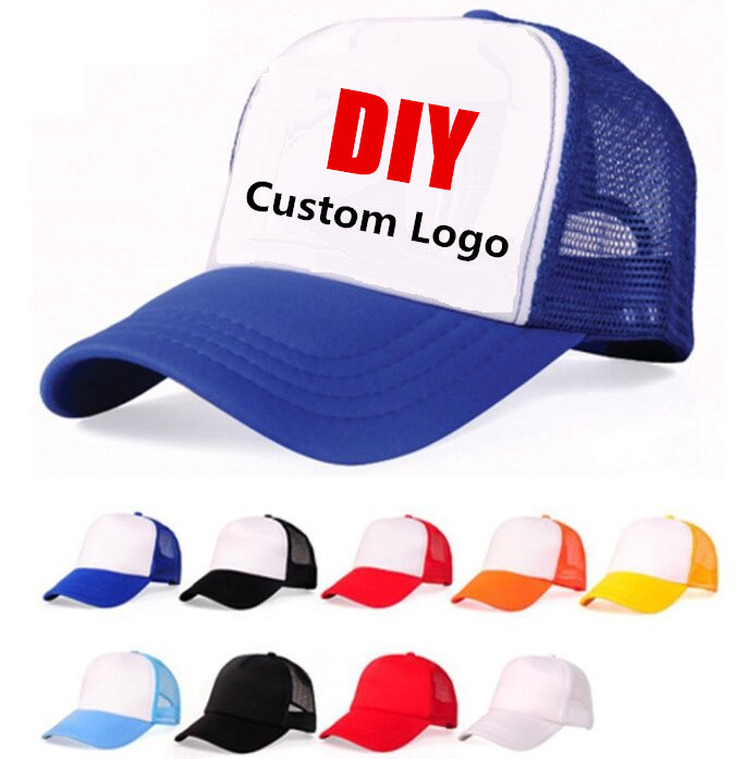 Accept 1 Piece DIY OEM Custom LOGO 100% Polyester Men Women   Baseball     Cap   Mesh Snapback Print Logo Trucker Hat