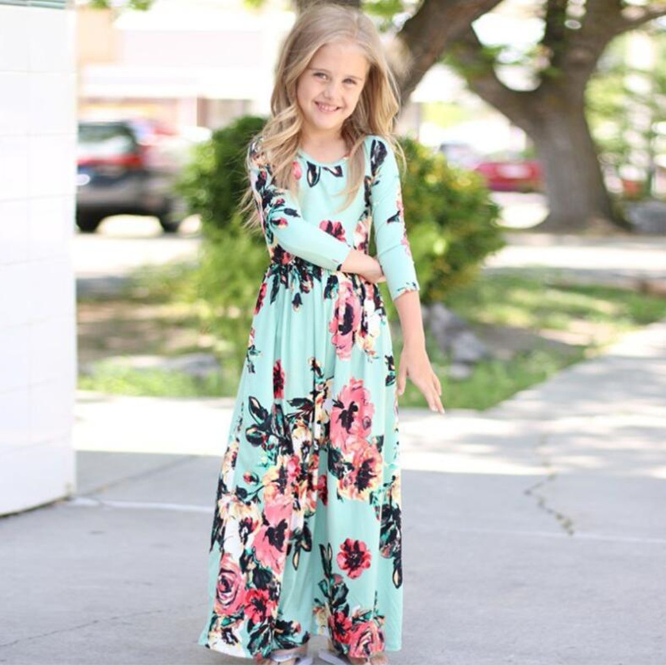 COSPOT Baby Girls Beachwear Long Dresses Girl Bohemian Fashion Long-sleeved Floral Dress Princess Casual 2018 New 2T-10T 45E