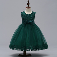 Retail High Quality Elegant Dresses For Girls Sleeveless Appliques Bow Decoration 4 Color Flower Girl Dresses