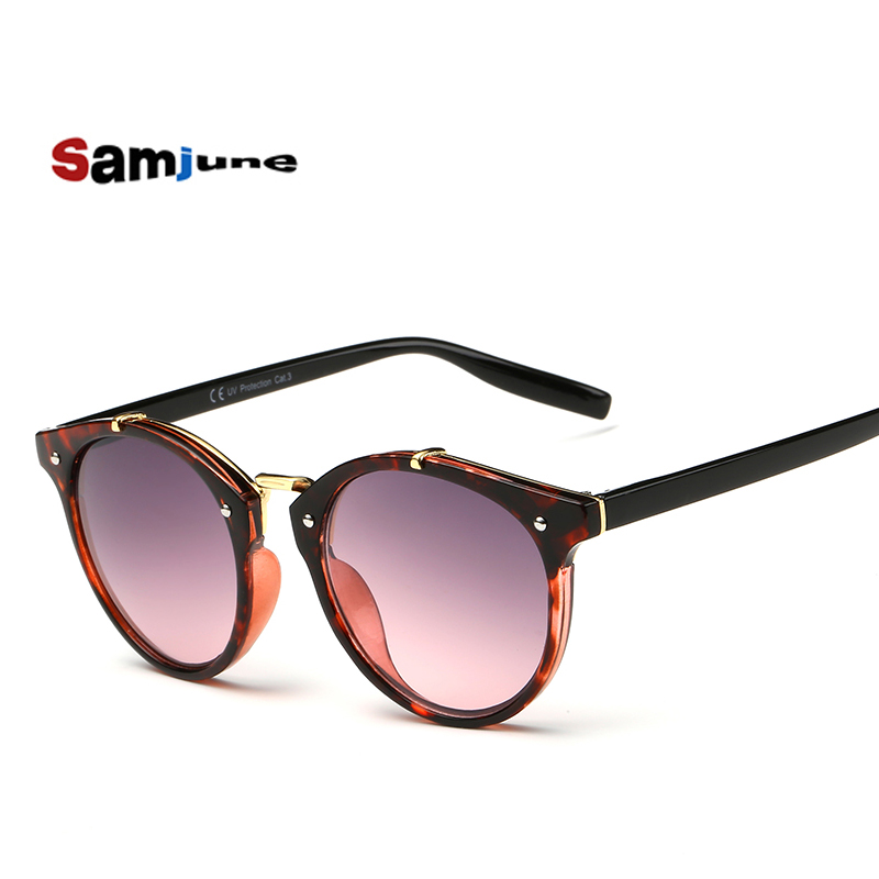 2016 Summer Vintage Round Solbriller Damemote Designer Eyewear Gradient Kvinne Retro Sun Glasses Brand Point Women Sunglass