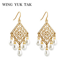 wing yuk tak Fashion Vintage Gold Color Simulated Pearl Earrings For Women Drop Earring 2019 Female Brincos Bohemian Jewelry