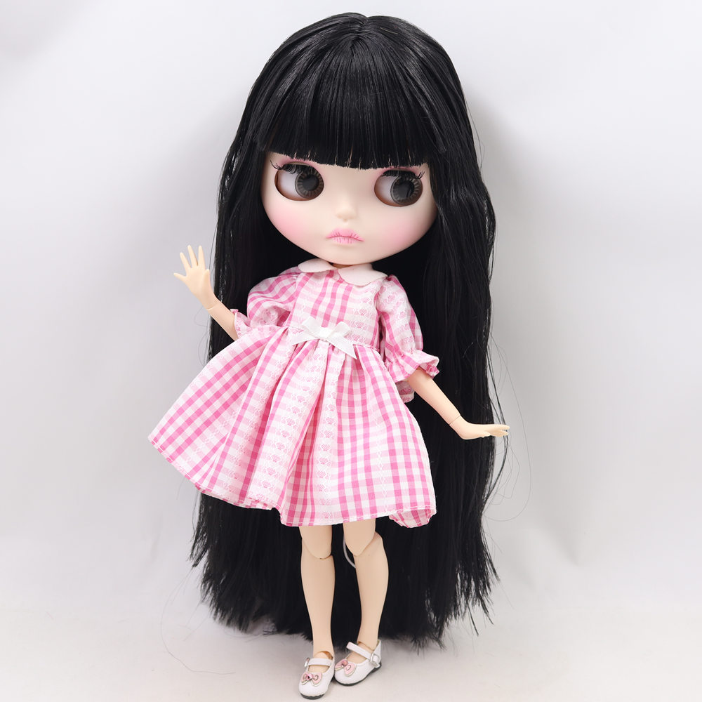 "12/"" Neo Blythe Doll From Factory Blue Long Hair With Bang Nude Doll"