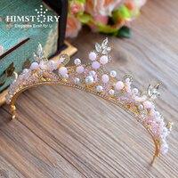 Himstory Sweety Girls Pink Beads Wedding Hair Tiara Crown Elegance Pink Pearl Brides Crown Evening Dress Hair Accessories