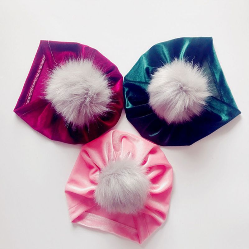 Infant Baby Girls Winter Glitter Velvet Turban Hat Fluffy Pompom Ball Ruched Pleated   Beanie   Cap Solid Color Knotted Ear Warmer P