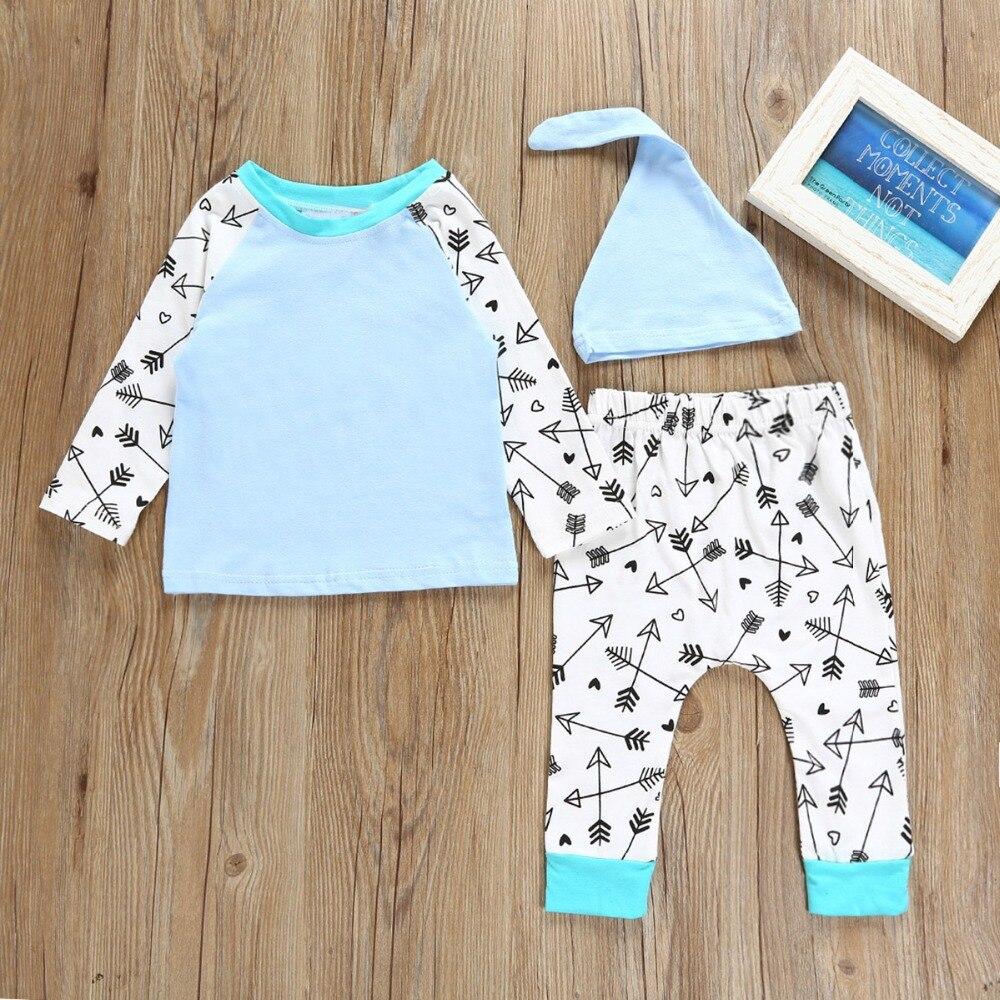 New Arrival Puseky Homwear 3pcs Set Infant Baby Boy Long Sleeve Arrow Shirt Tops+Long Pants+Hat Arrow Print Kids Autumn Outfits