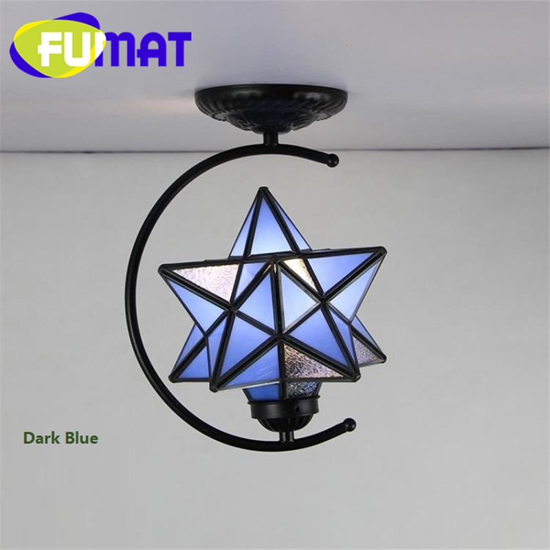 FUMAT Stained Glass Art Decor Ceiling Lights Loft Moon Star Diamond Lamps Corridor Kitchen Dinning Room