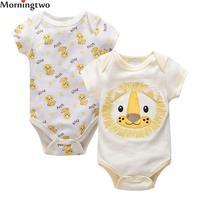 Morningtwo 2pcs Lot Unisex Spring Baby Romper Baby Boy Girl Romper Short Sleeve Infant Jumpsuit For