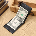 Fashion New Genuine Leather Black Coffee Classical Soft Design Dollar Clip Quality Male Money Clips Wallet For Men #04