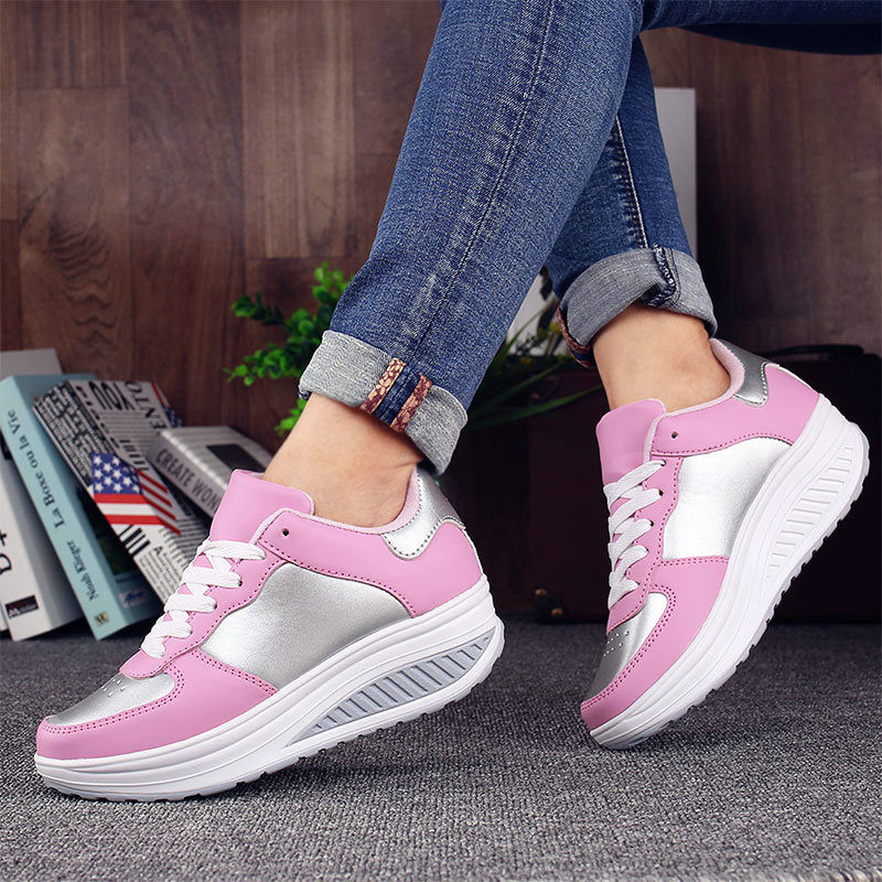 Casual black khaki forme white Été Gray dark silver Blue Femmes Coins Plein White lake Sneakers Cuir Coréen black Pink Blue royal Air 2018 Noir Dames Red Blanc 1 black Rose Red Blue black 2 Plate Chaussures Tenis Feminino En n80wvmNO