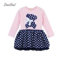 2016 New Fashion Autumn Brand Children Clothes For Cute Bear Girl Cotton Navy Rhinestone Dress Princess