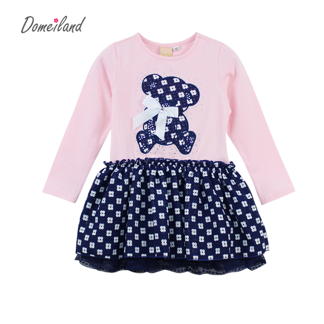 2017 new Fashion Autumn Brand Children Clothes for cute bear girl cotton Navy Rhinestone dress Princess dress Kid Party clothing