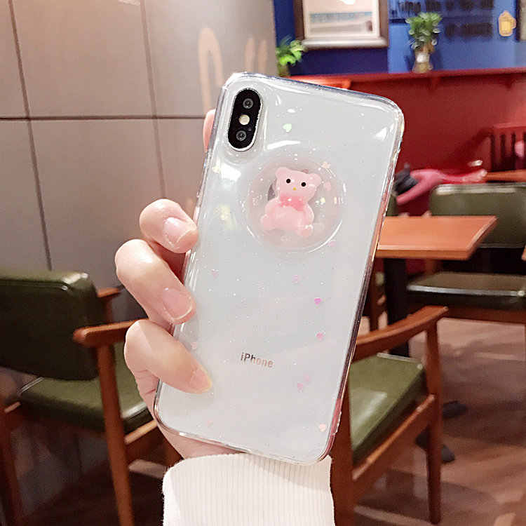 Phone Case For Huawei mate 9 10 20 lite pro Nova 2 plus 3i Cute 3D glitter heart bear soft rubber protective cover coque Capa