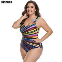 Riseado 2018 Plus Size Swimwear Women One Piece Swimsuit Striped U-back Female Swim Wear Random Printed Bathing Suits 3XL