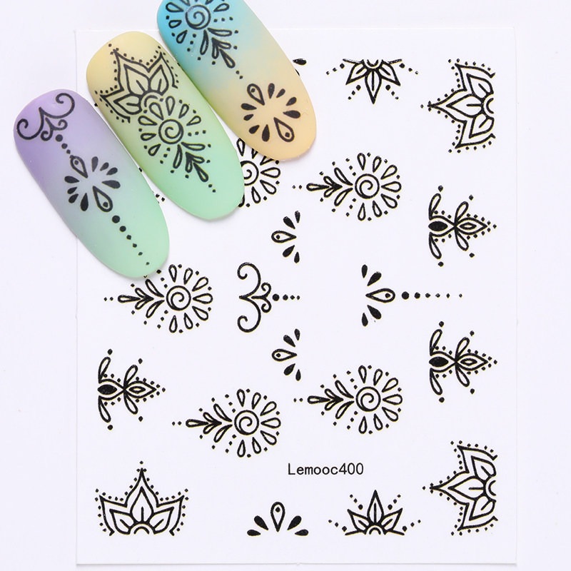 Image 4 - LEMOOC Nail Transfer Stickers Colorful Flowers Butterfly Water Decals DIY Tips Mixed Patterns Nail Art Sticker Decoration-in Stickers & Decals from Beauty & Health