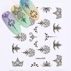 Image 4 - LEMOOC tırnak transferi çıkartmalar renkli çiçekler kelebek su çıkartmaları DIY İpuçları karışık desenler Nail Art Sticker dekorasyon