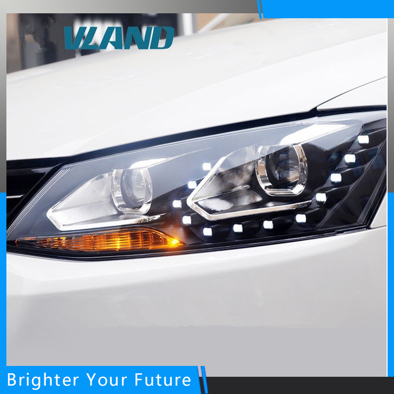 LED Head Lamp For Volkswagen Jetta 2011-2014  LED Strip Headlights Bi Xenon Projector lens head lamp