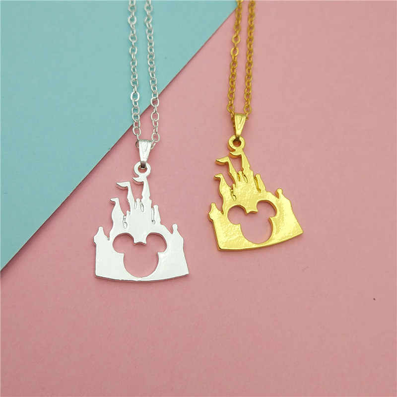 drop shipping Cute Mickey Head Pendant Necklace women Charm Gold Silver Beauty Castle Mickey Jewelry Necklace for Girls