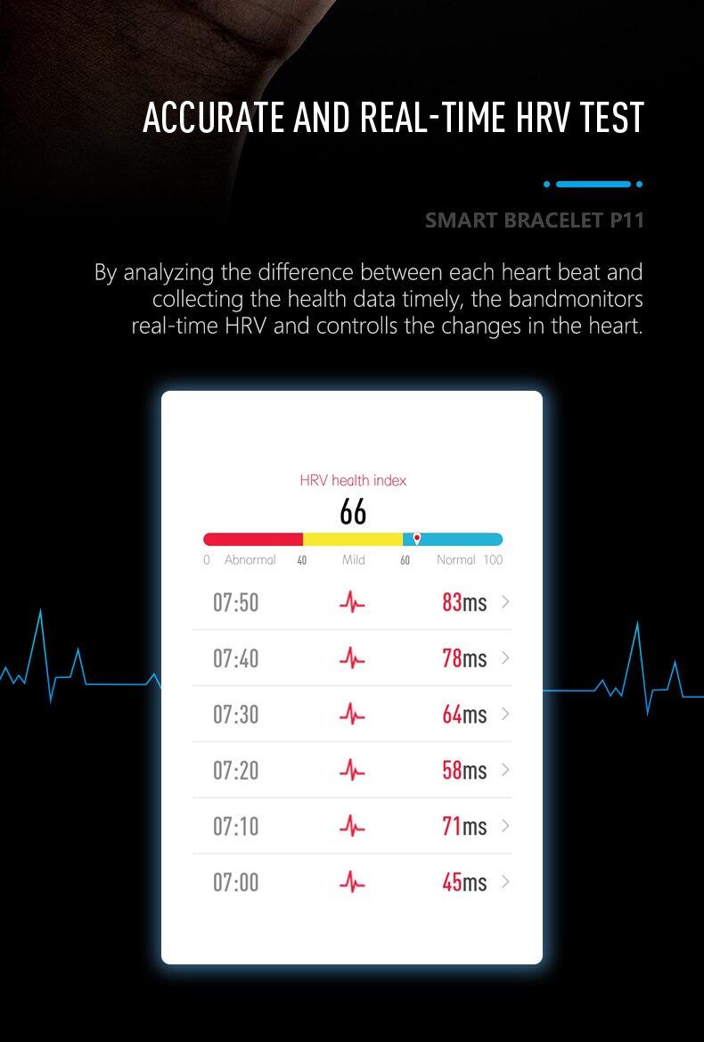 HTB1SOKdef1G3KVjSZFkq6yK4XXaL 2019 Newest smartband P11 ECG Smart band watch Heart Rate Monitor PPG Smart Bracelet Blood Pressure Waterproof Wristband
