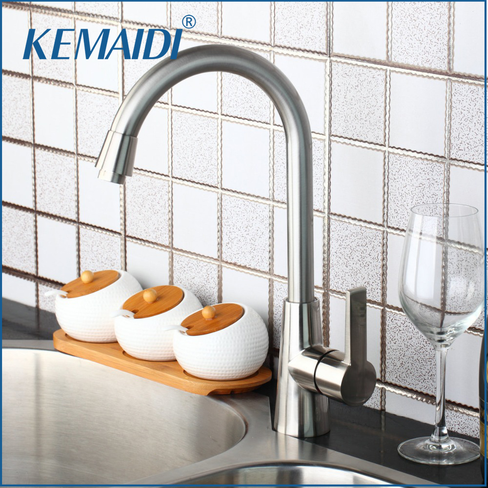 KEMAIDI Luxury New Kitchen Faucet Swivel Nickel Brushed Sink Tap Brass Basin Vessel Mixer Torneira Cozinha