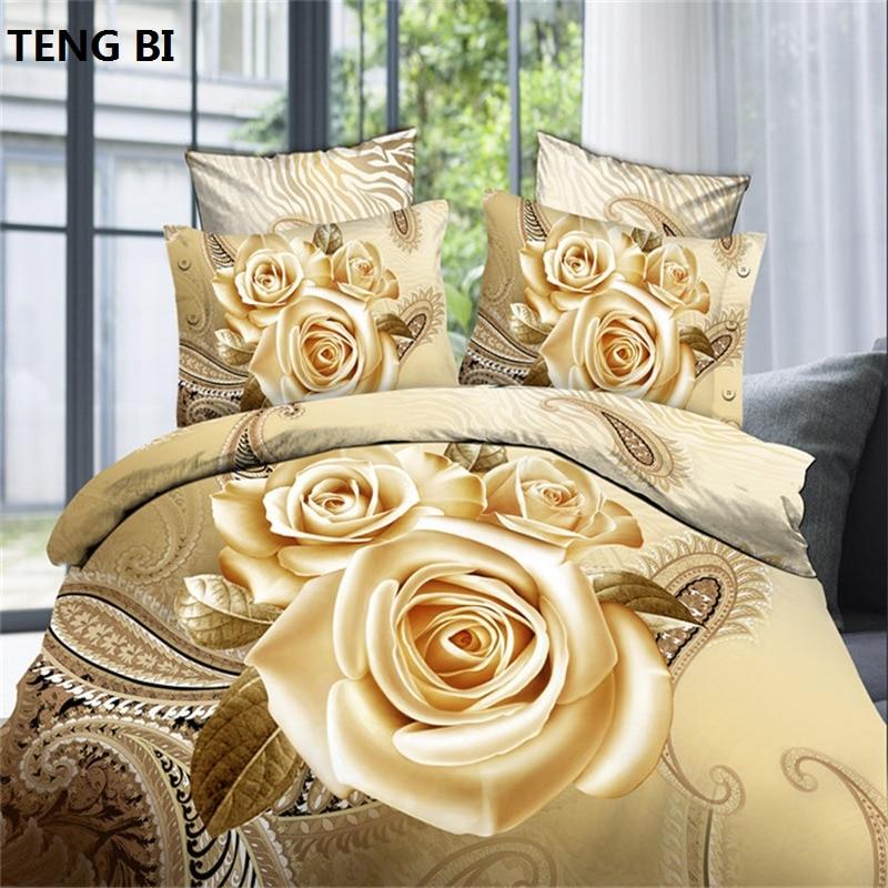 2018 Hot 3D Cotton Bedding Sets/Bed Set/Bed Clothes Linen 4 Pcs (duvet Cover+flat Sheet+2 Pillowcase) Queen Size Free Shipping