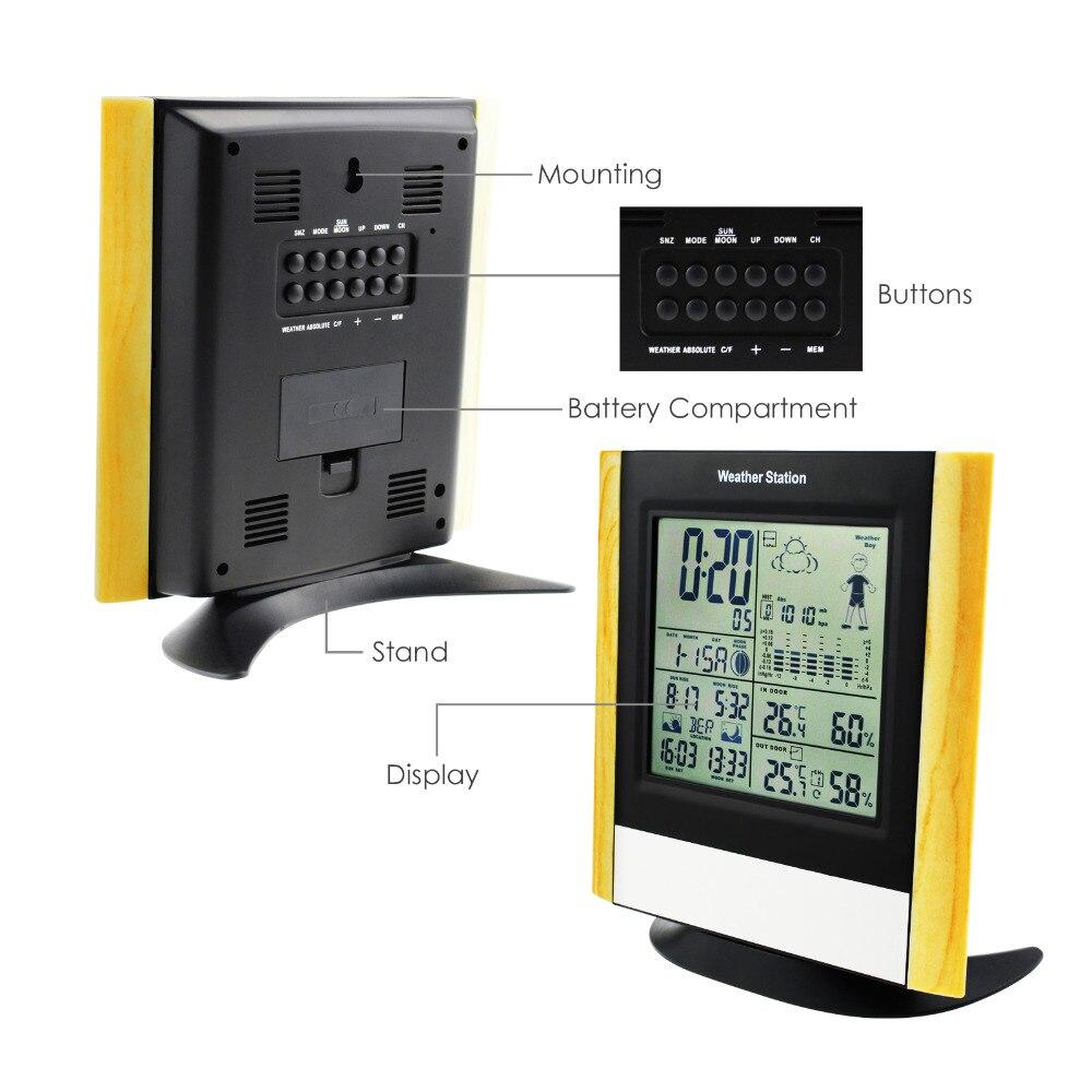 Image 2 - Stacja pogodowa 3 czujniki bezprzewodowe, zegar ze sterowaniem radiowym WWVB DCF, prognoza temperatury wilgotności na zewnątrz w Termometry od Narzędzia na